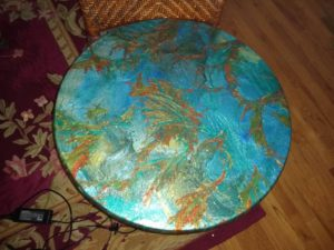 Epoxy Resin Side Tables & Coffee Table w/Golden Legs