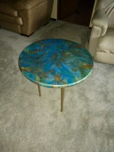"""Epoxy Resin Night Table Round with golden legs 24"""" Modern Abstract Design"""