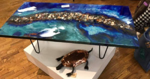 """Epoxy Resin Table Tops! River Creek Coffee table 48"""" x 24"""" Resin Design"""